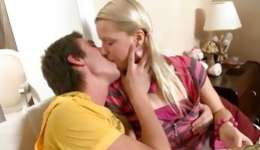 Nice young blonde is getting stiff ass hole fucked vulgar and sucks