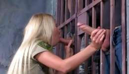 Hot threesome with one blonde satisfying dicks in a prison hard