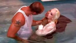 Racy bright-haired is sucking on a lusty hot dog of her obedient partner right beneath water deep