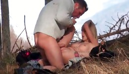 Sexual bright-haired impressiveness is having act of love with this man and her beaver stretched