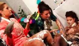 Pleasant ladies total horny with cake pleasuring each other in a hot way