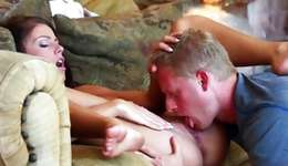 Unflexible brown-haired slut is riding on a huge 10-Pounder