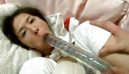 Provocative asian skank is doomed with a dildo