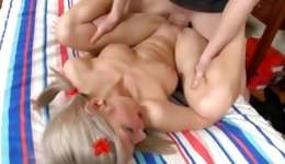 Blonde marvelous lassie is getting her tight genitals poured with the huge sugar-plum