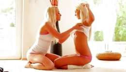 Astonishing naked blond girls are performing sinful deepthroat in position 69