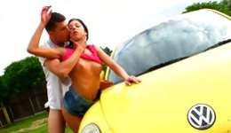 Sweet teen brown-haired is getting her pussy  destroyed next to a car