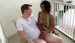 This voluptuous doxy seduced her neighbor right on the porch