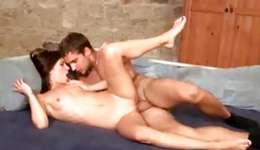 Hot brunette is exposing her skinny naked body engulfing a tasty dick
