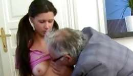 Grey haired incredibly arousing old man who is putting fucking this young girl